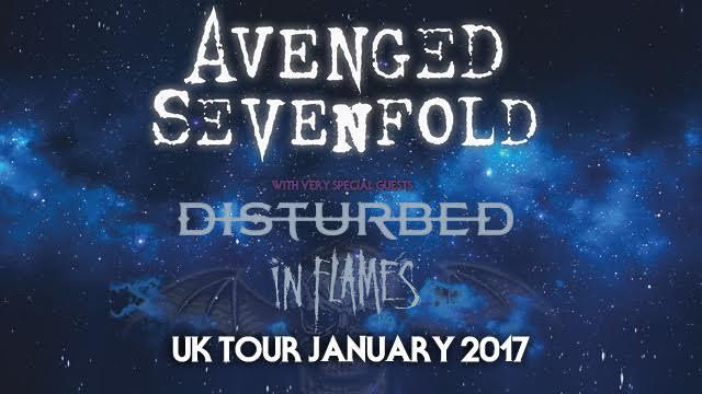 Avenged Sevenfold Announce 2017 UK Tour With Disturbed And In Flames.